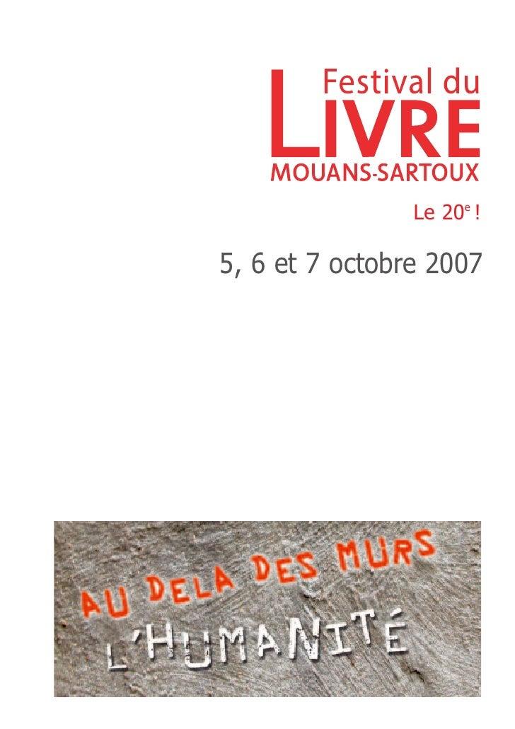20e édition                 Le 20e !  5, 6 et 7 octobre 2007