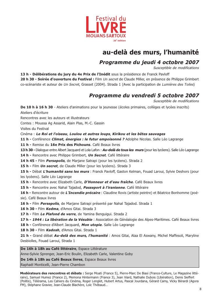 Dossier de presse fdl mouans sartoux 2007 - Le plafond de verre yamina benguigui ...