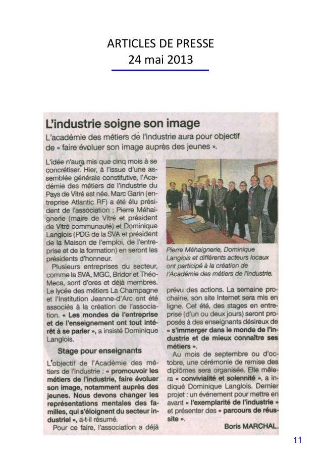 11 ARTICLES DE PRESSE 24 mai 2013