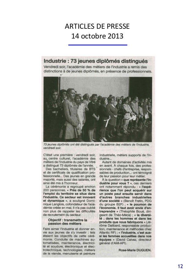 12 ARTICLES DE PRESSE 14 octobre 2013