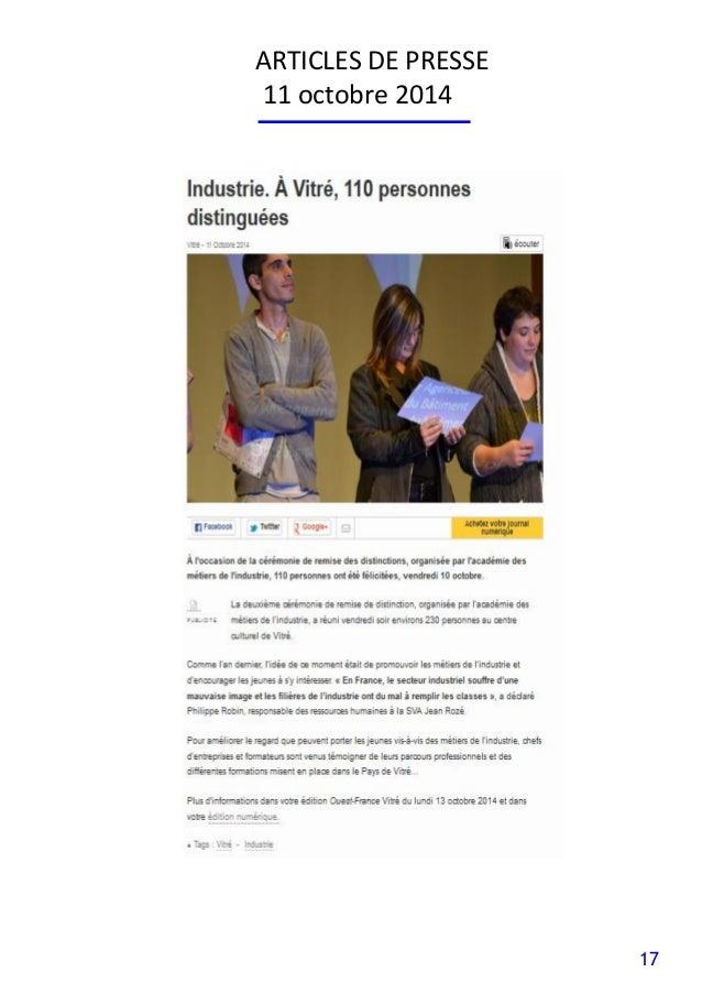 17 ARTICLES DE PRESSE 11 octobre 2014