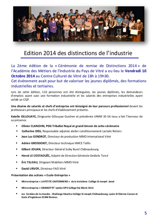 5 Edition 2014 des distinctions de l'industrie  Olivier CLANCHIN, PDG Triballat Noyal et grand témoin de cette cérémonie ...