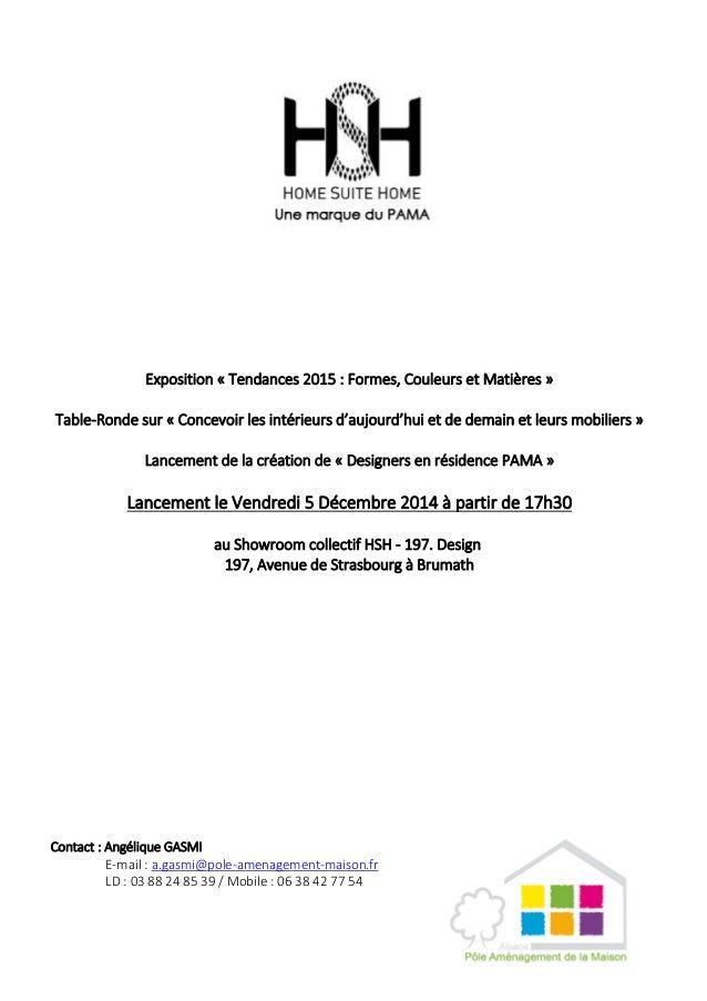 Exposition « Tendances 2015 : Formes, Couleurs et Matières » Table-Ronde sur « Concevoir les intérieurs d'aujourd'hui et d...