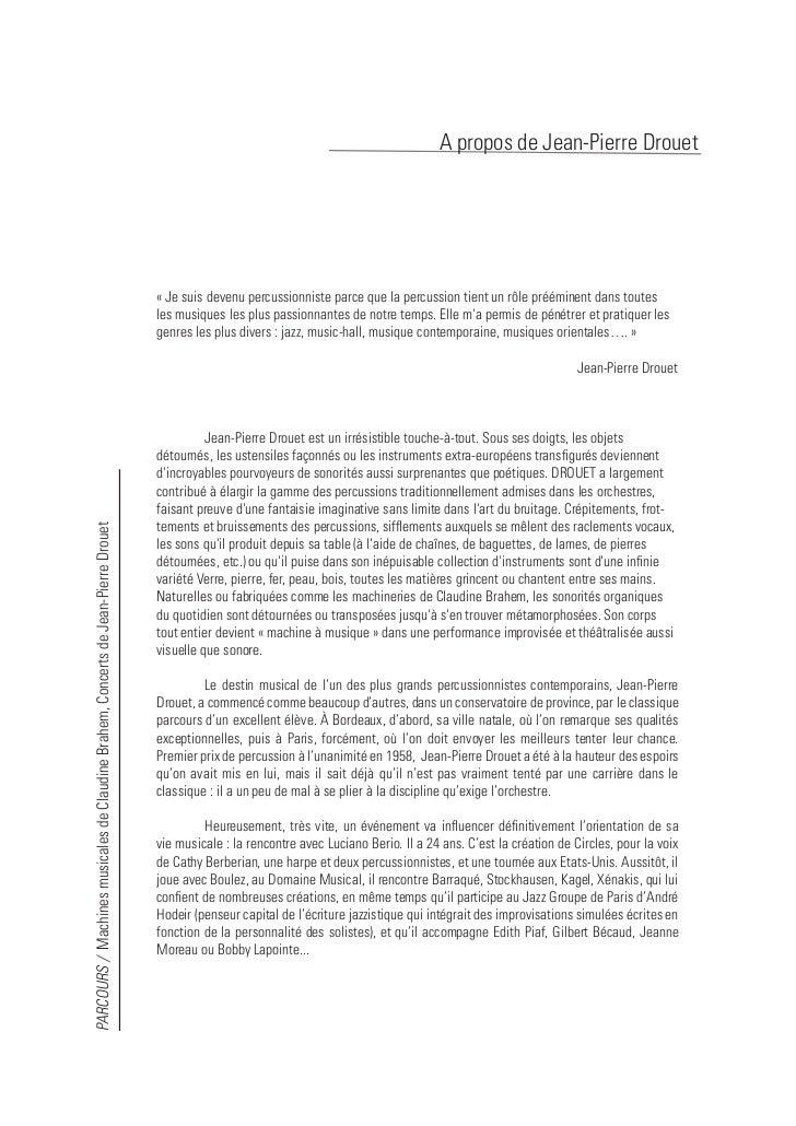 A propos de Jean-Pierre Drouet        Dès la fin des années soixante, il fonde, avec Michel Portal, Vinko Globokar et Car...