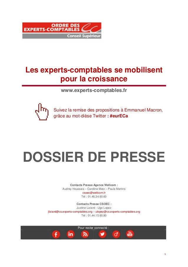 1 Les experts-comptables se mobilisent pour la croissance www.experts-comptables.fr Suivez la remise des propositions à Em...