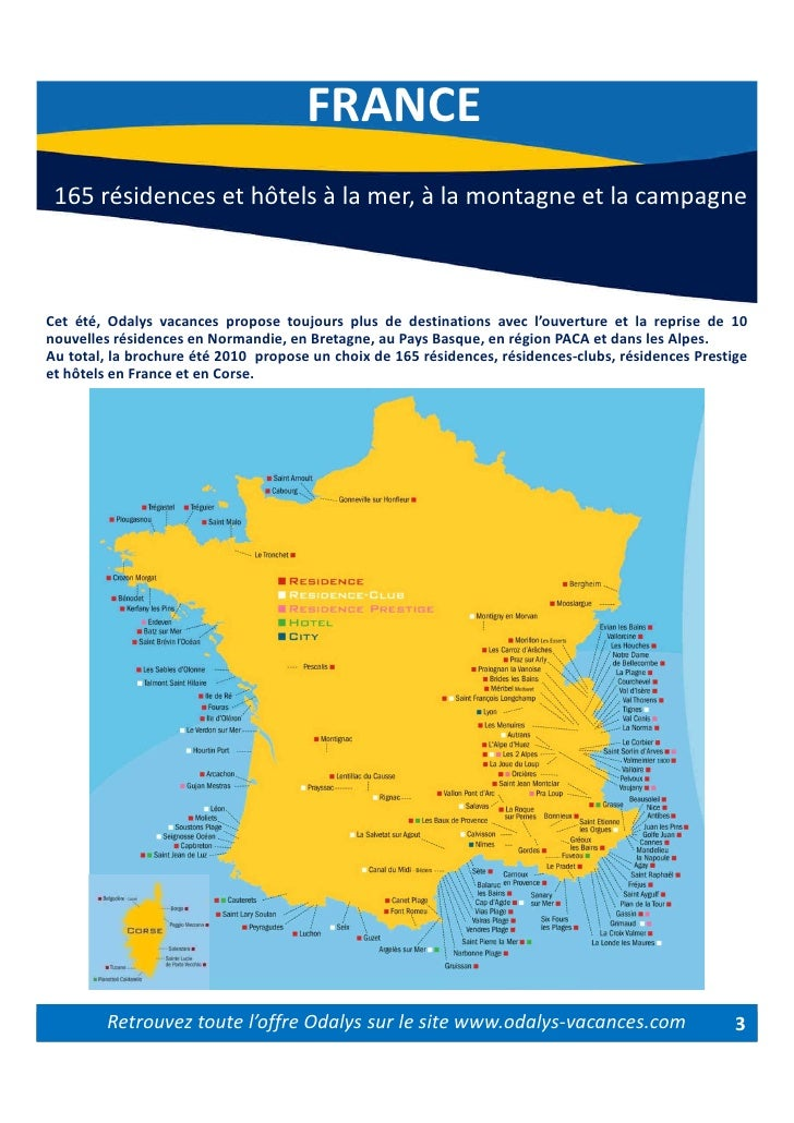 carte de france odalys