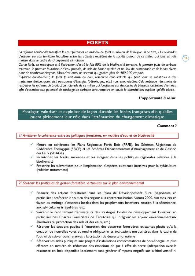 14 FORETS La réforme territoriale transfère les compétences en matière de forêt au niveau de la Région. A ce titre, il lui...
