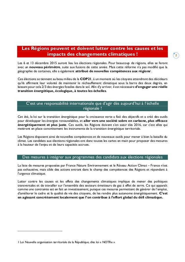 2 Les Régions peuvent et doivent lutter contre les causes et les impacts des changements climatiques ! Les 6 et 13 décembr...
