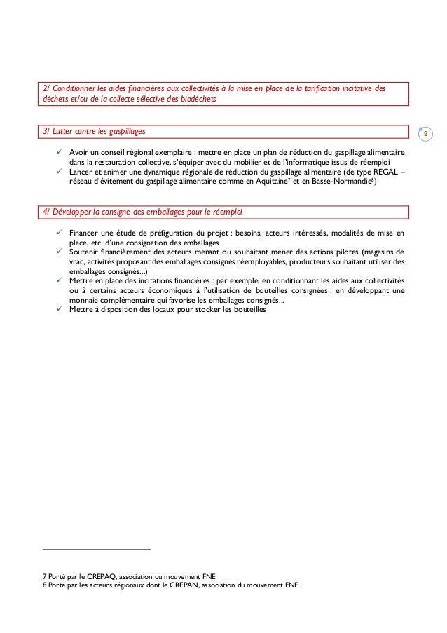 9 2/ Conditionner les aides financières aux collectivités à la mise en place de la tarification incitative des déchets et/...