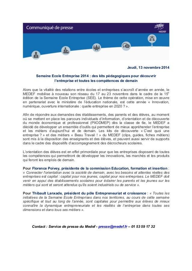 Jeudi, 13 novembre 2014  Semaine Ecole Entreprise 2014 : des kits pédagogiques pour découvrir  l'entreprise et toutes les ...