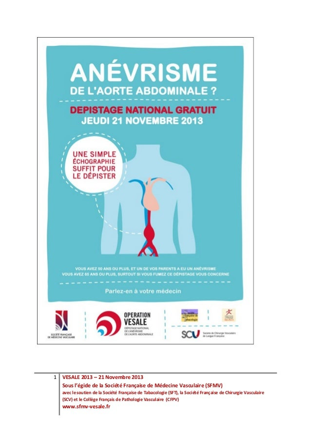 1 VESALE 2013 – 21 Novembre 2013  Sous l'égide de la Société Française de Médecine Vasculaire (SFMV)   avec le soutien de ...