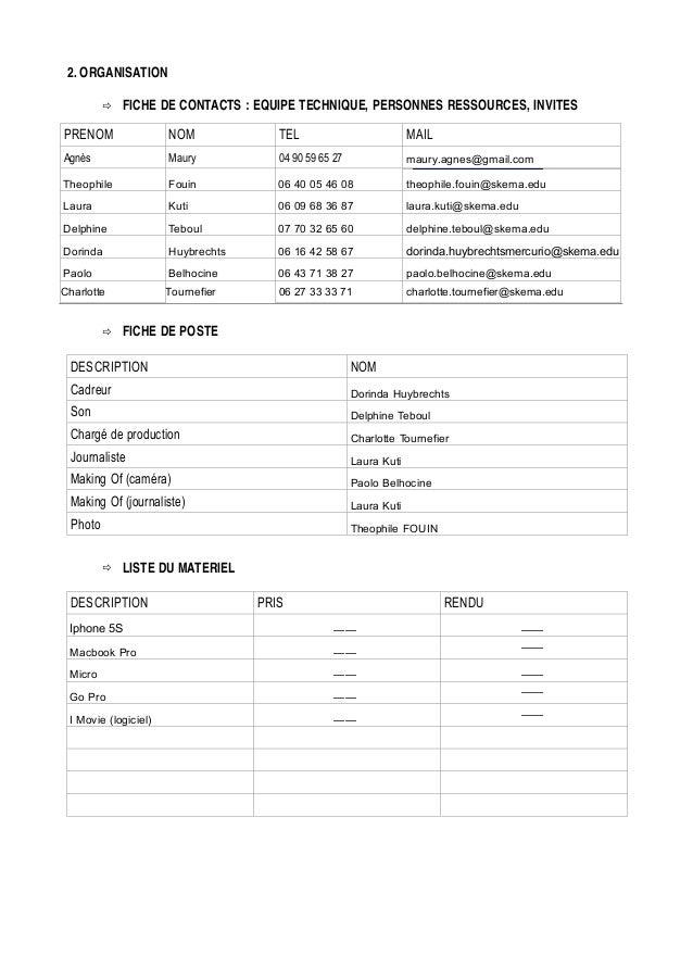 2. ORGANISATION FICHE DE CONTACTS : EQUIPE TECHNIQUE, PERSONNES RESSOURCES, INVITES PRENOM  NOM  TEL  MAIL  Agnès  Maury  ...