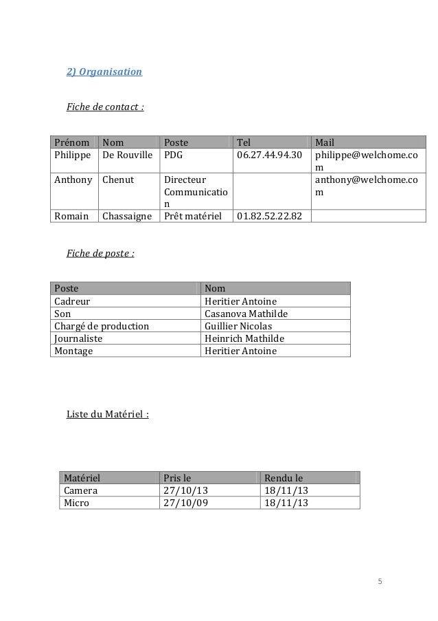2) Organisation Fiche de contact : Prénom Philippe  Nom De Rouville  Anthony Chenut Romain  Chassaigne  Poste PDG  Tel 06....