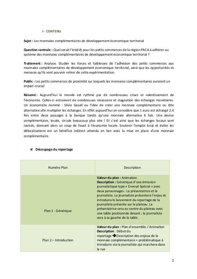2  I-‐  CONTENU  Sujet  :  Les  monnaies  complémentaires  de  développement  économique  territorial  Question  centrale...