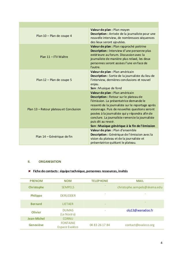 4  II. ORGANISATION  Fiche  de  contacts  :  équipe  technique,  personnes  ressources,  invités  PRENOM  NOM  TELEPHONE  ...