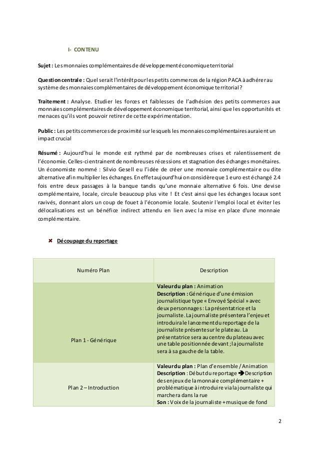 2  I- CONTENU  Sujet : Les monnaies complémentaires de développement économique territorial  Question centrale : Quel sera...