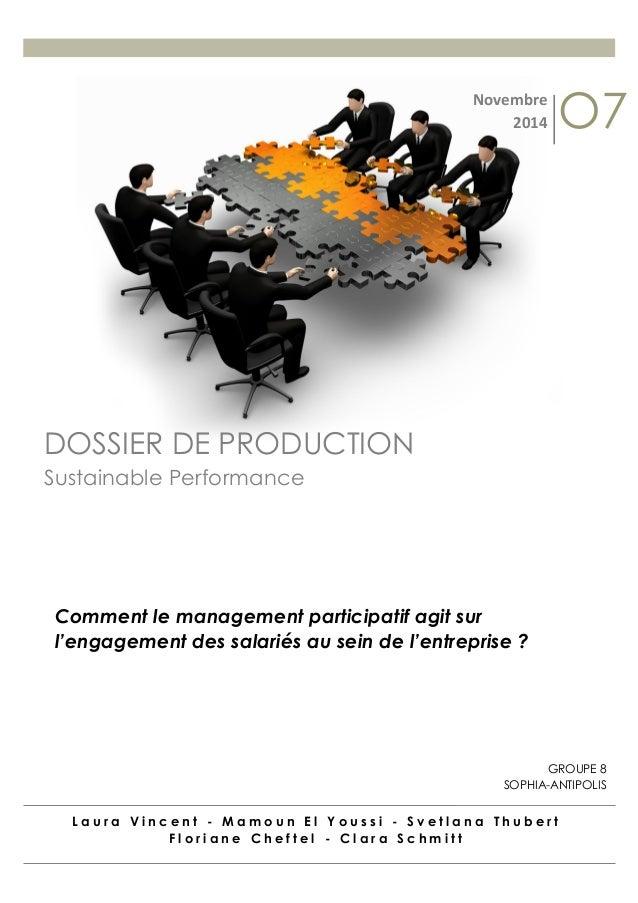 Laura Vincent - Mamoun El Youssi - Svetlana Thubert Floriane Cheftel - Clara Schmitt  DOSSIER DE PRODUCTION  Sustainable P...