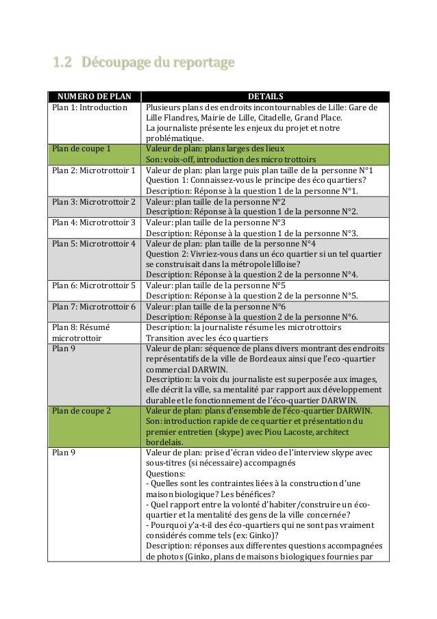 1.2 Découpage du reportage  NUMERO DE PLAN DETAILS  Plan 1: Introduction Plusieurs plans des endroits incontournables de L...