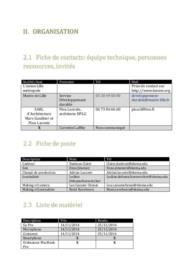 II. ORGANISATION  2.1 Fiche de contacts: équipe technique, personnes  ressources, invités  Société/Asso Personne Tél Mail ...