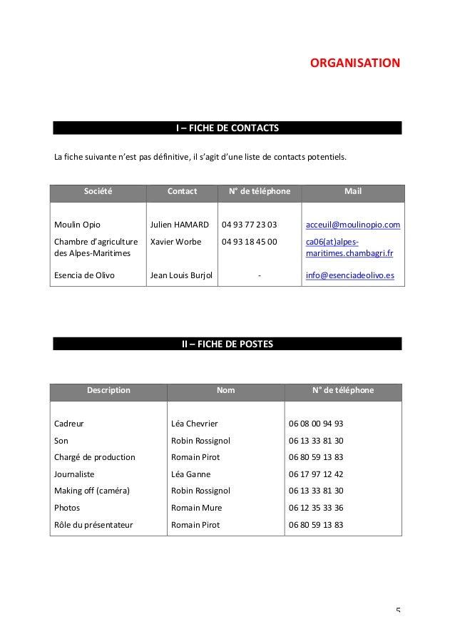 ORGANISATION  5  I  –  FICHE  DE  CONTACTS  La  fiche  suivante  n'est  pas  définitive,  il  s'agit  d'une  liste  de  co...