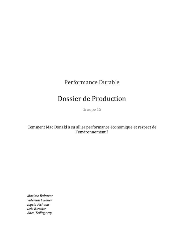 Performance	   Durable	     	     	    Dossier	   de	   Production	    Groupe	   15	 ...