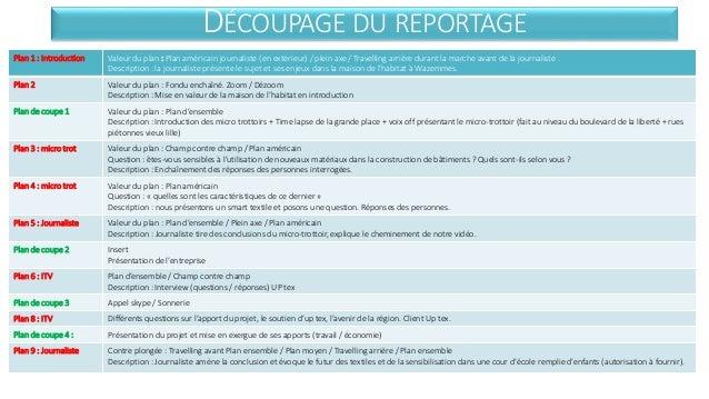 DÉCOUPAGE DU REPORTAGE  Plan 1 : Introduction Valeur du plan : Plan américain journaliste (en extérieur) / plein axe / Tra...