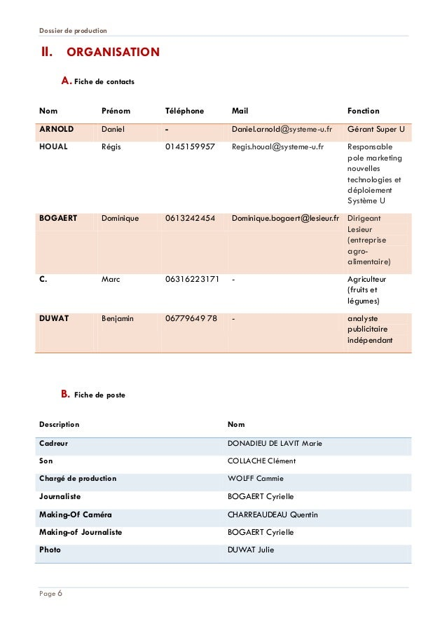 Dossier de production  II. ORGANISATION A. Fiche de contacts Nom  Prénom  Téléphone  Mail  Fonction  ARNOLD  Daniel  -  Da...