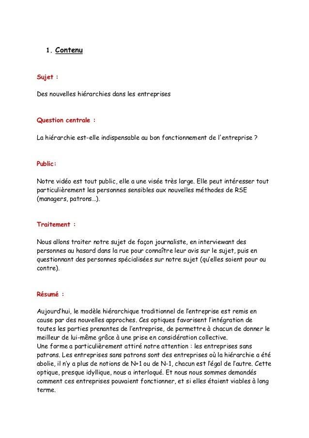 1. Contenu  Sujet :  Des nouvelles hiérarchies dans les entreprises  Question centrale :  La hiérarchie est-elle indispens...
