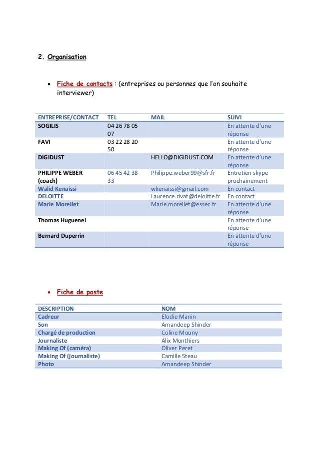 2. Organisation   Fiche de contacts : (entreprises ou personnes que l'on souhaite interviewer)  ENTREPRISE/CONTACT  TEL  ...