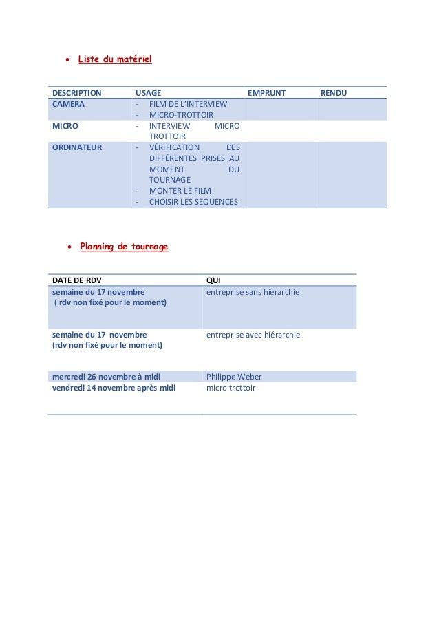  Liste du matériel  DESCRIPTION  USAGE  EMPRUNT  RENDU CAMERA - FILM DE L'INTERVIEW - MICRO-TROTTOIR  MICRO  - INTERVIEW ...