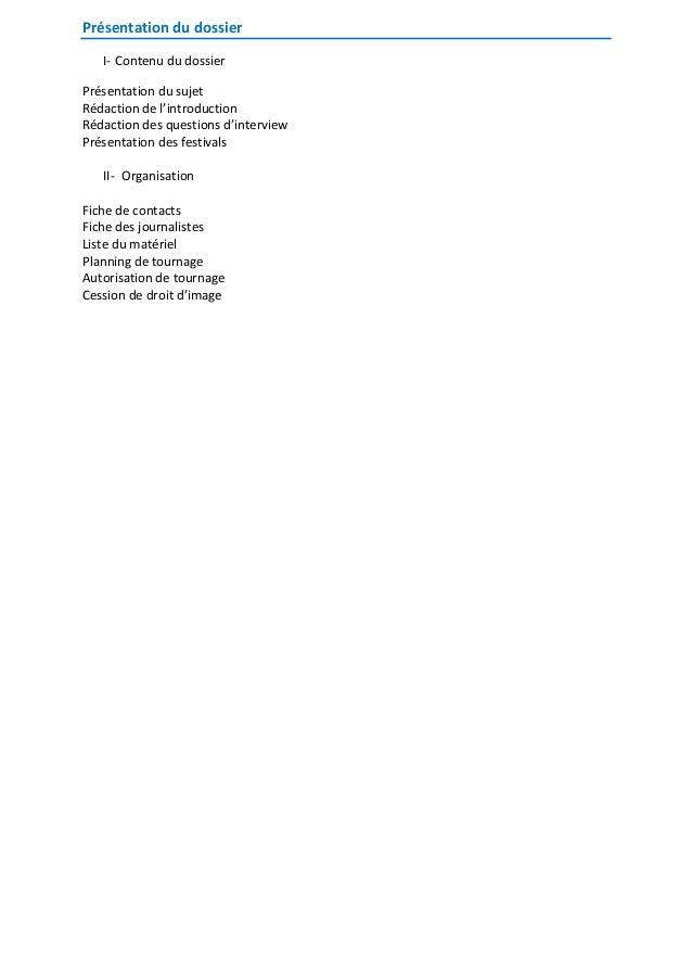 Présentation du dossier I- Contenu du dossier Présentation du sujet Rédaction de l'introduction Rédaction des questions d'...