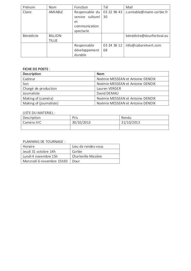 Prénom Claire  Nom AMIABLE  Bénédicte  BILLIONTILLIE  Fonction Tél Mail Responsable du 03 22 96 43 c.amiable@maire-corbie....