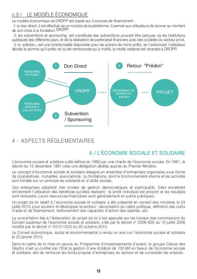 c.3 / LE MODÈLE ÉCONOMIQUE Le modèle économique de DROPP est basée sur 3 sources de financement : 1. le don direct, il est...