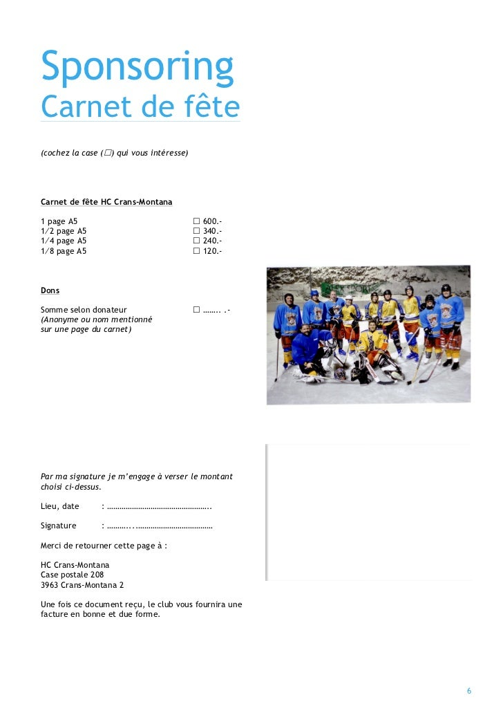 Sponsoring                                                 Notre carnet deCarnet de fête                                  ...