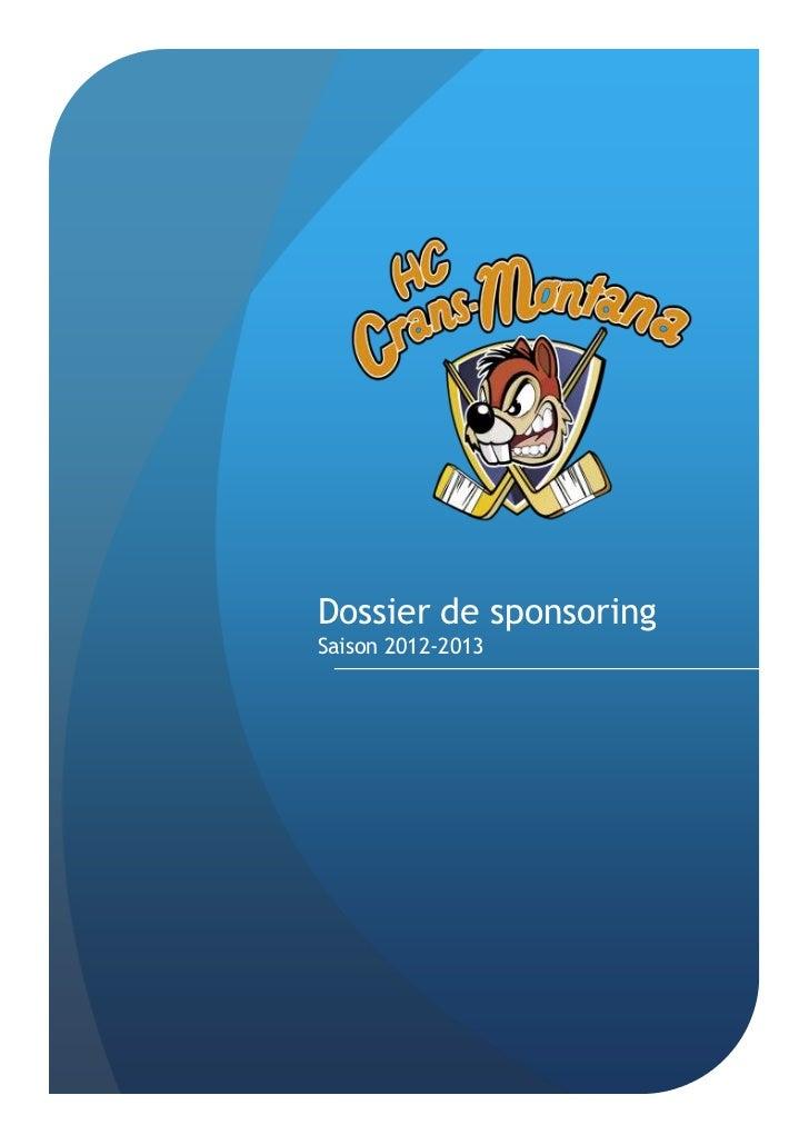 Dossier de sponsoringSaison 2012-2013
