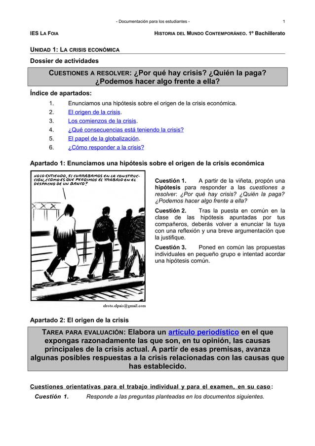 - Documentación para los estudiantes - IES LA FOIA HISTORIA DEL MUNDO CONTEMPORÁNEO. 1º Bachillerato UNIDAD 1: LA CRISIS E...