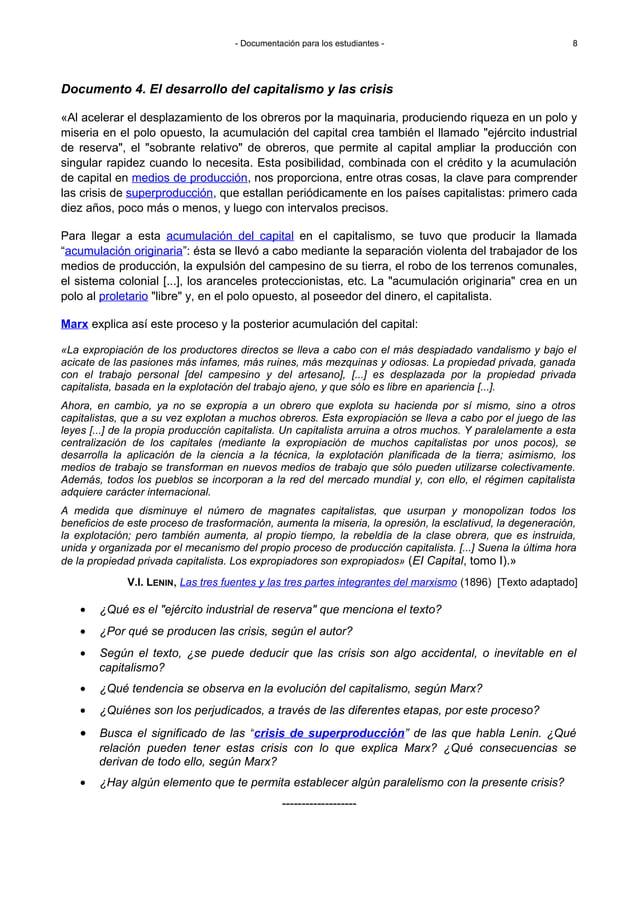 - Documentación para los estudiantes - Documento 4. El desarrollo del capitalismo y las crisis «Al acelerar el desplazamie...