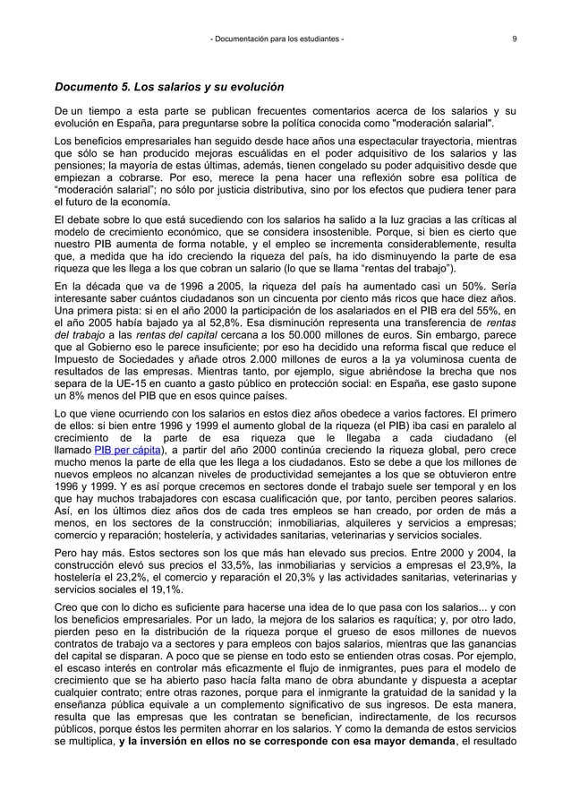 - Documentación para los estudiantes - Documento 5. Los salarios y su evolución De un tiempo a esta parte se publican frec...