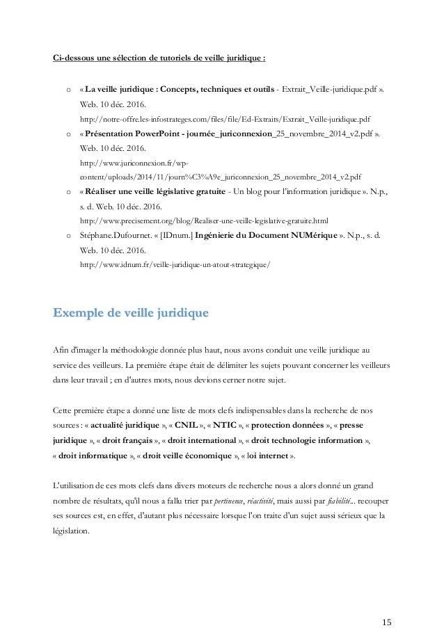 Exemple de CV charge de veille legislative et reglementaire