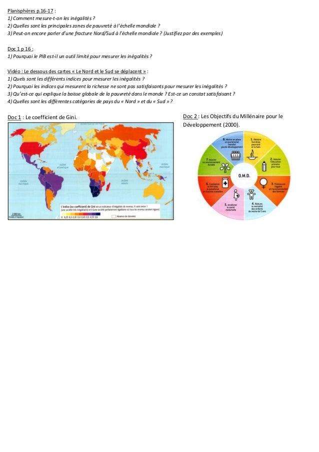 Planisphères p.16-17 : 1) Comment mesure-t-on les inégalités ? 2) Quelles sont les principales zones de pauvreté à l'échel...
