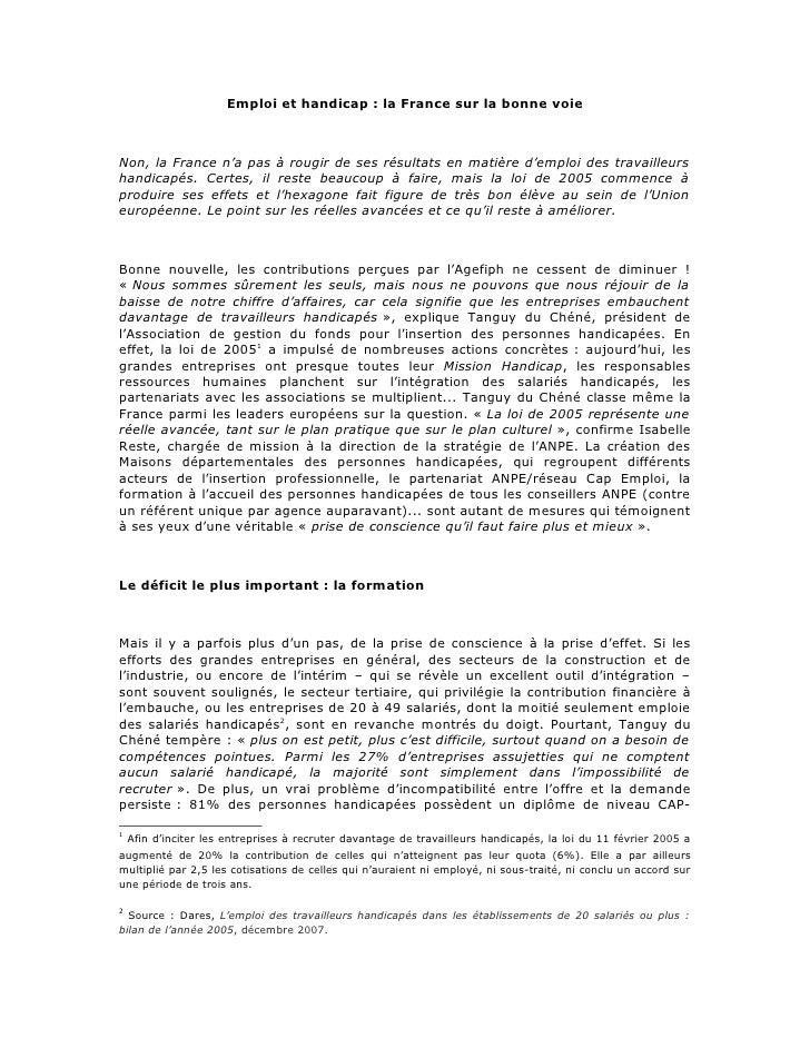 Emploi et handicap : la France sur la bonne voie    Non, la France n'a pas à rougir de ses résultats en matière d'emploi d...