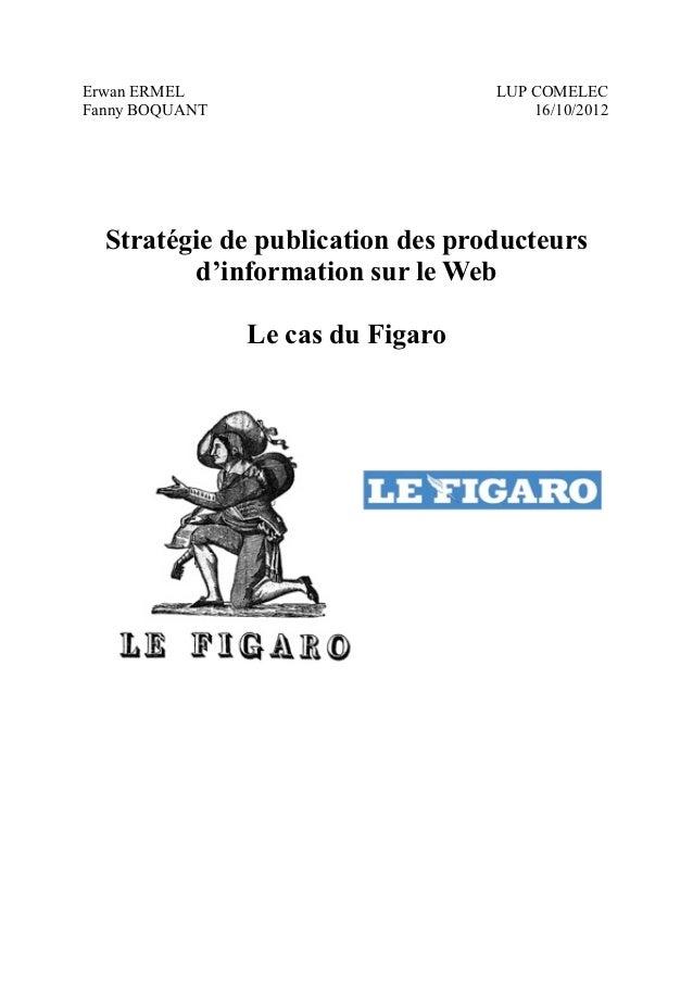 Erwan ERMEL                        LUP COMELECFanny BOQUANT                          16/10/2012  Stratégie de publication ...