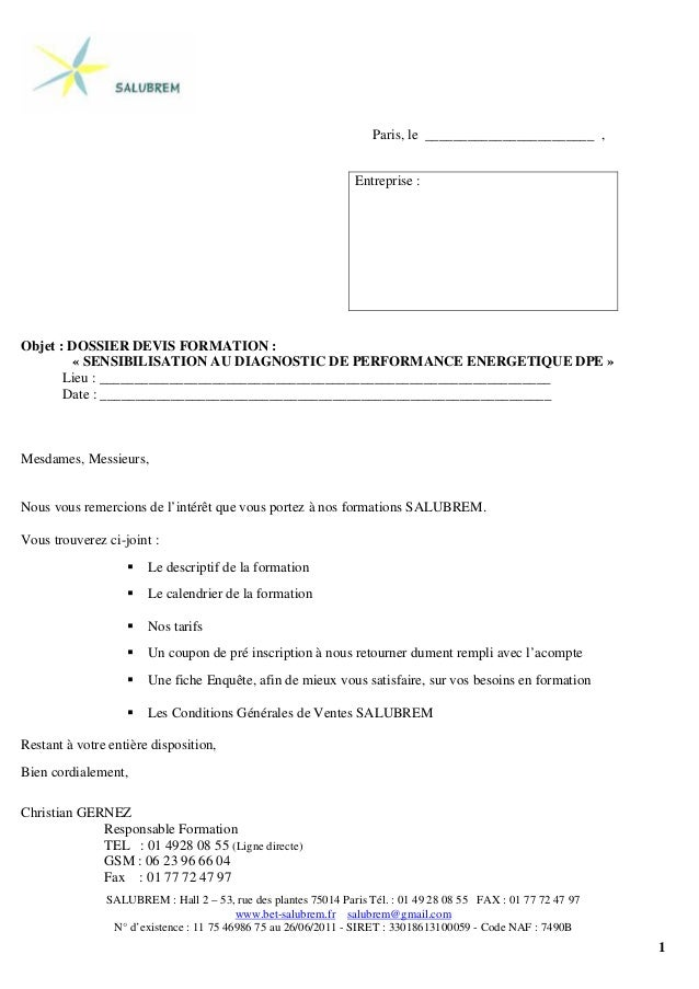 1 Paris, le ________________________ , Objet : DOSSIER DEVIS FORMATION : « SENSIBILISATION AU DIAGNOSTIC DE PERFORMANCE EN...