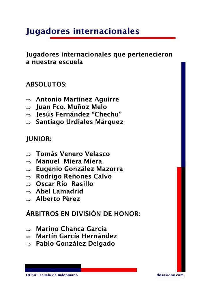 Jugadores internacionales  Jugadores internacionales que pertenecieron a nuestra escuela   ABSOLUTOS:      Antonio Martíne...