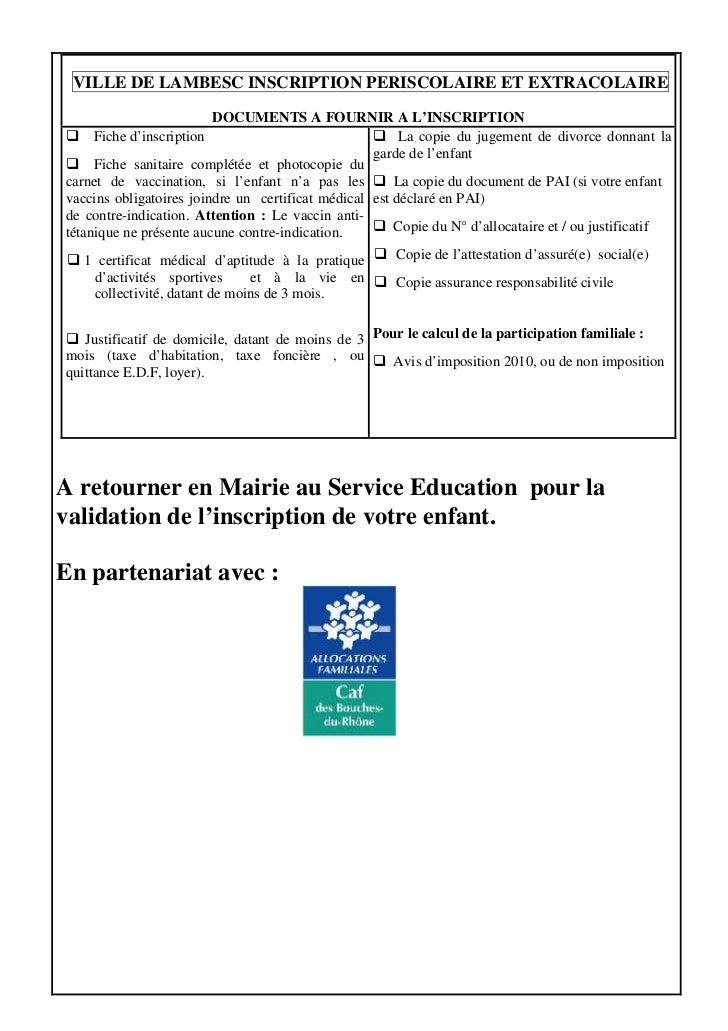 Dossier Inscription Periscolaire Extrascolaire Enfant Vierge 2011 20