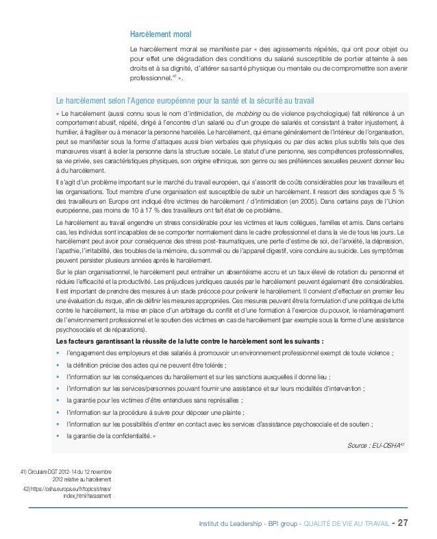 Dossier institut du leadership qualite de vie au travail - Porter plainte pour violence physique ...