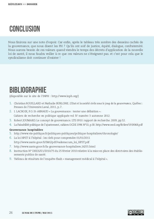 Réflexion ›››› DOSSIER CONCLUSION BIBLIOGRAPHIE (disponible sur le site de l'INPH : http://www.inph.org/) 1. Christian RO...