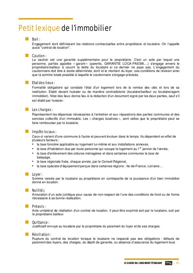 Le guide du logement etudiant par century 21 edition 2013 2014 - Rupture contrat de location par le proprietaire ...