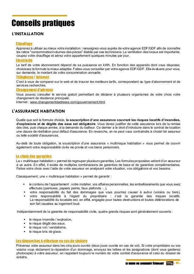 Guide du logement tudiant 2016 for Annulation contrat assurance habitation