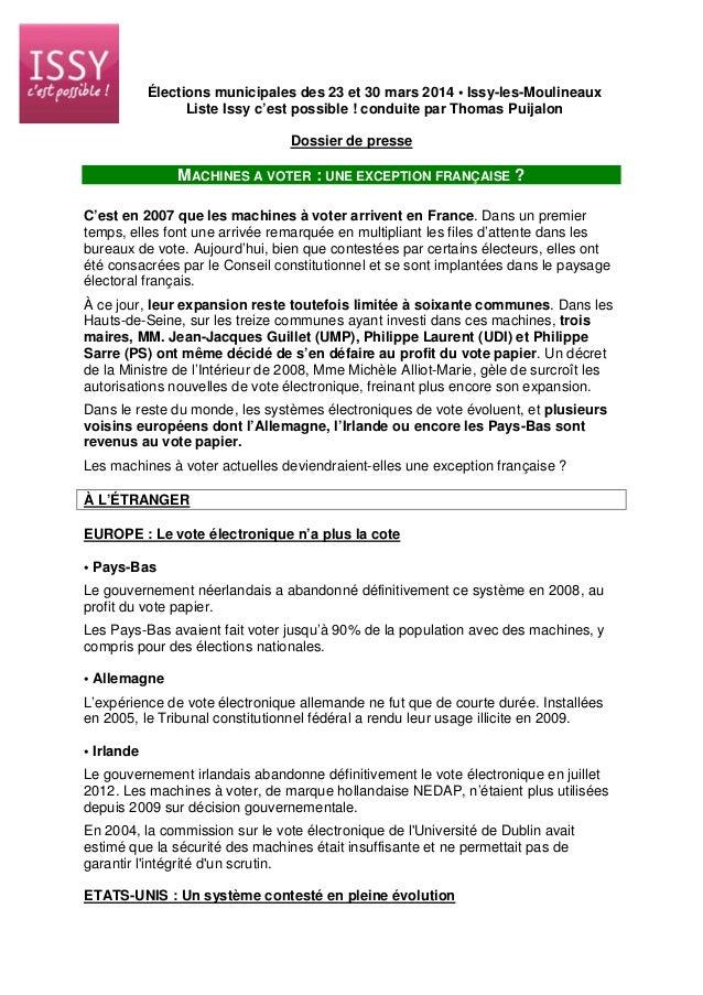 Élections municipales des 23 et 30 mars 2014 • Issy-les-Moulineaux Liste Issy c'est possible ! conduite par Thomas Puijalo...